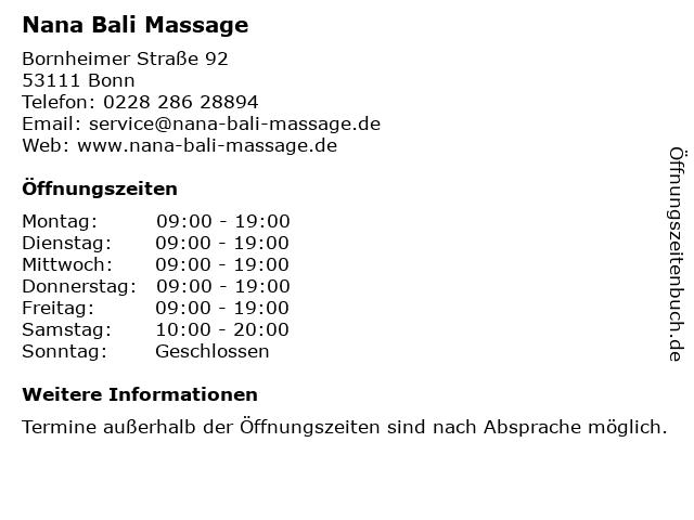 Nana Bali Massage in Bonn: Adresse und Öffnungszeiten