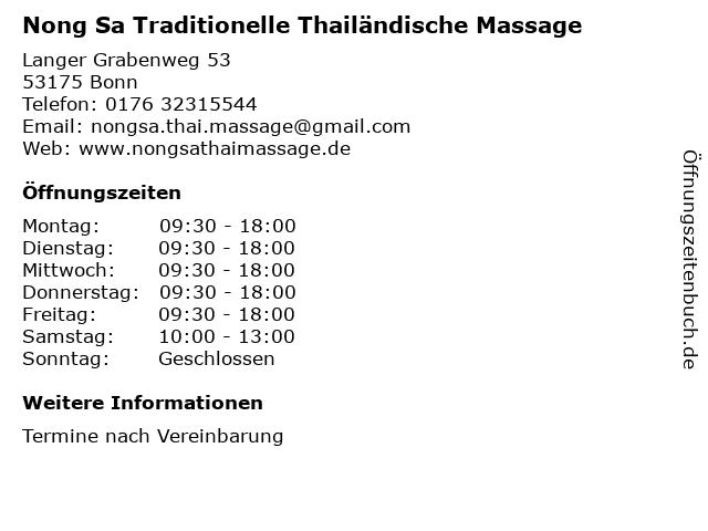 Nong Sa Traditionelle Thailändische Massage in Bonn: Adresse und Öffnungszeiten