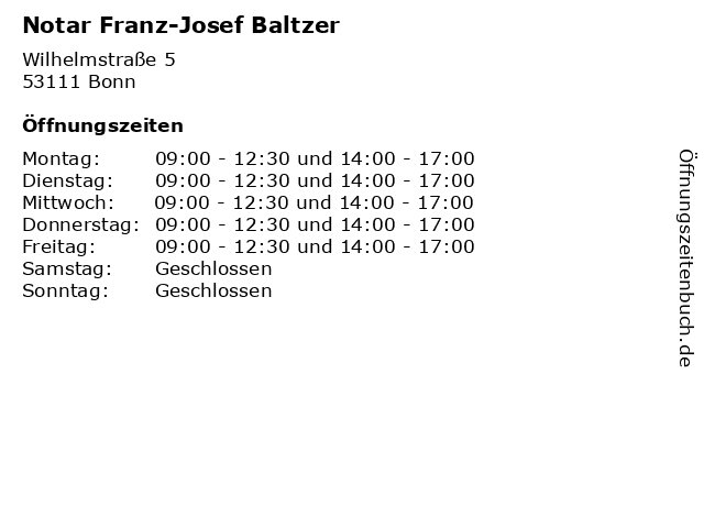 Notar Franz-Josef Baltzer in Bonn: Adresse und Öffnungszeiten