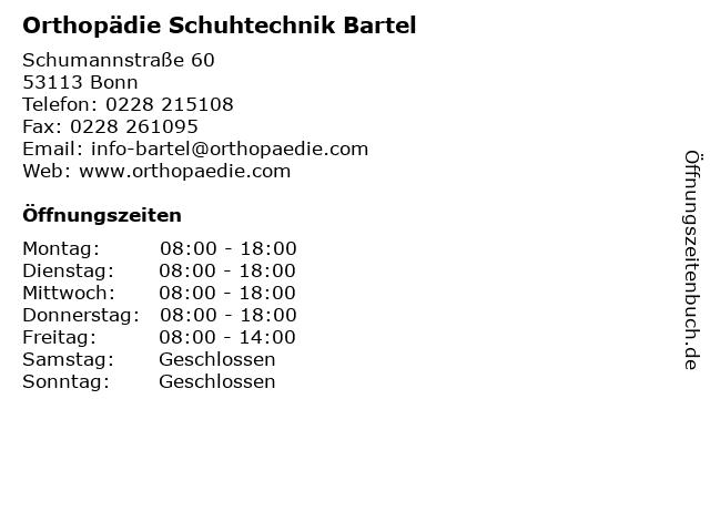 Orthopädie Schuhtechnik Bartel in Bonn: Adresse und Öffnungszeiten