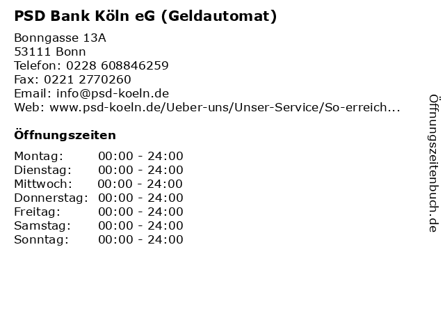 PSD Bank Köln eG (Geldautomat) in Bonn: Adresse und Öffnungszeiten