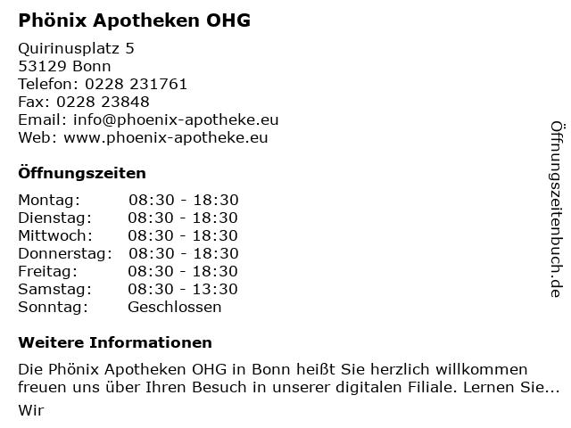 Phönix-Apotheke in Bonn: Adresse und Öffnungszeiten