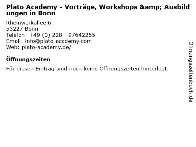 Plato Academy - Vorträge, Workshops & Ausbildungen in Bonn in Bonn: Adresse und Öffnungszeiten