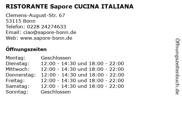 RISTORANTE Sapore CUCINA ITALIANA in Bonn: Adresse und Öffnungszeiten