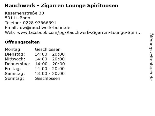 Rauchwerk - Zigarren Lounge Spirituosen in Bonn: Adresse und Öffnungszeiten