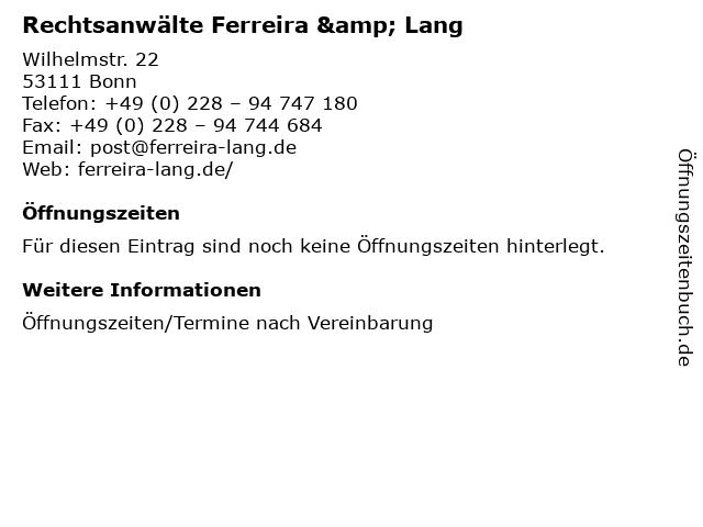 Rechtsanwälte Ferreira & Lang in Bonn: Adresse und Öffnungszeiten