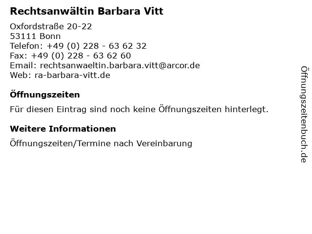 Rechtsanwältin Barbara Vitt in Bonn: Adresse und Öffnungszeiten