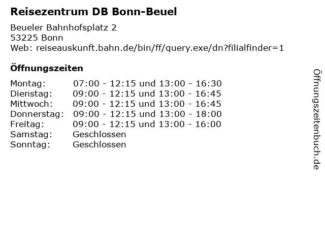 Reisezentrum DB Bonn-Beuel in Bonn: Adresse und Öffnungszeiten