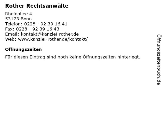 Rother Rechtsanwälte in Bonn: Adresse und Öffnungszeiten