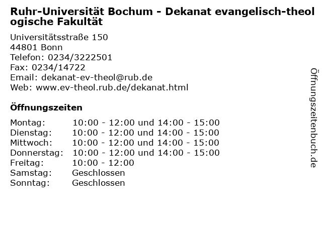 Ruhr-Universität Bochum - Dekanat evangelisch-theologische Fakultät in Bonn: Adresse und Öffnungszeiten