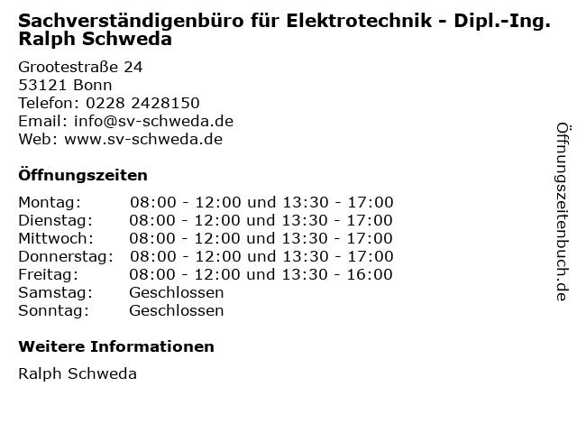Sachverständigenbüro für Elektrotechnik - Dipl.-Ing. Ralph Schweda in Bonn: Adresse und Öffnungszeiten