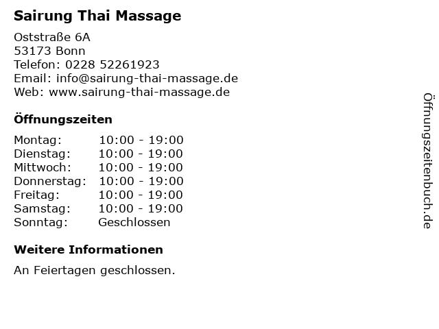Sairung Thai Massage in Bonn: Adresse und Öffnungszeiten