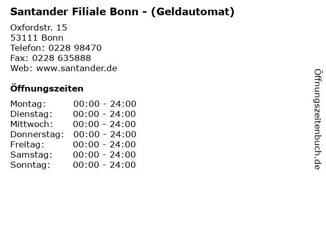 Santander Filiale Bonn - (Geldautomat) in Bonn: Adresse und Öffnungszeiten