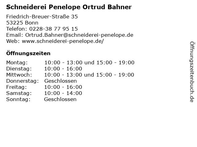 Schneiderei Penelope Ortrud Bahner in Bonn: Adresse und Öffnungszeiten