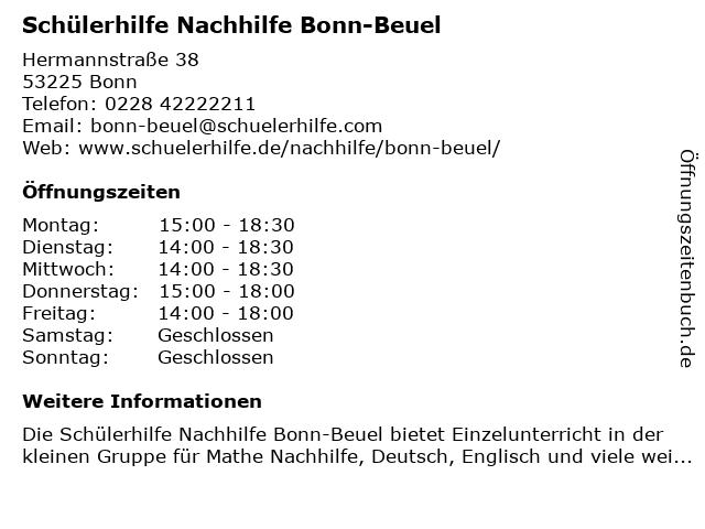Schülerhilfe Bonn-Beuel in Bonn: Adresse und Öffnungszeiten