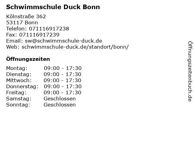 Schwimmschule Duck Bonn in Bonn: Adresse und Öffnungszeiten