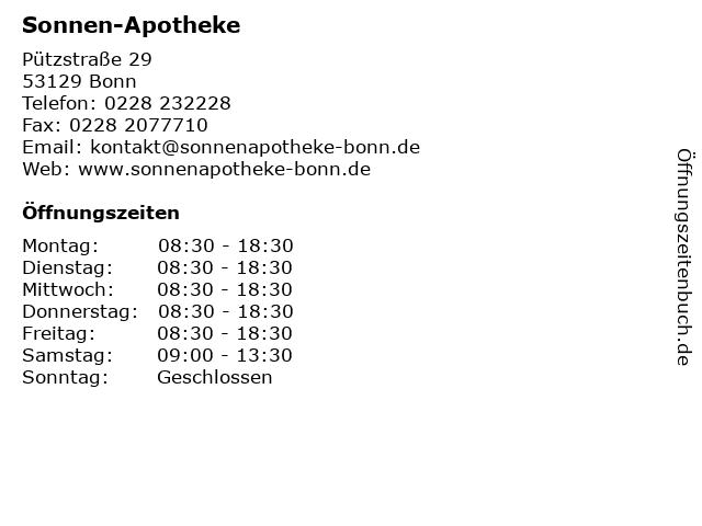 Sonnen-Apotheke in Bonn: Adresse und Öffnungszeiten