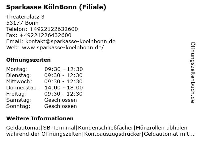 Sparkasse KölnBonn - Filiale Theaterplatz in Bonn: Adresse und Öffnungszeiten