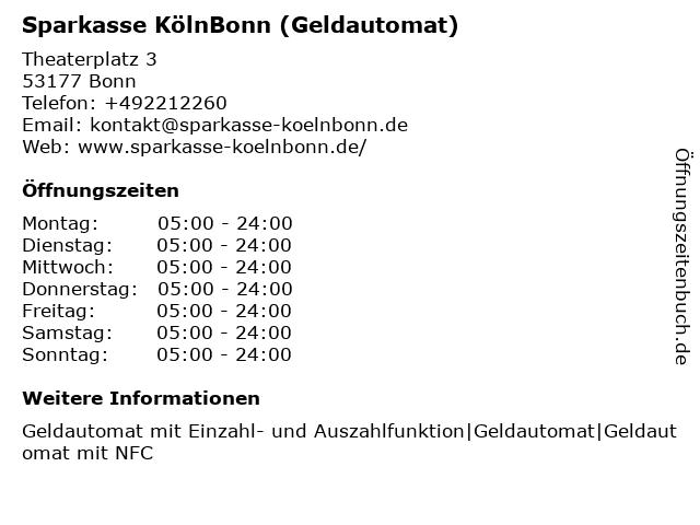 Sparkasse KölnBonn - (Geldautomat Filiale) in Bonn: Adresse und Öffnungszeiten