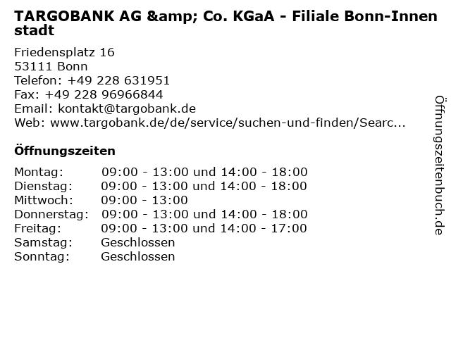 TARGOBANK AG & Co. KGaA - Filiale Bonn-Innenstadt in Bonn: Adresse und Öffnungszeiten