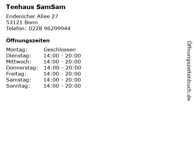 Teehaus SamSam in Bonn: Adresse und Öffnungszeiten