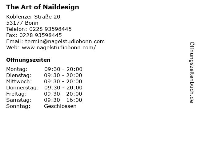 The Art of Naildesign in Bonn: Adresse und Öffnungszeiten