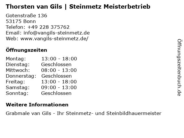 Thorsten van Gils   Steinmetz Meisterbetrieb in Bonn: Adresse und Öffnungszeiten