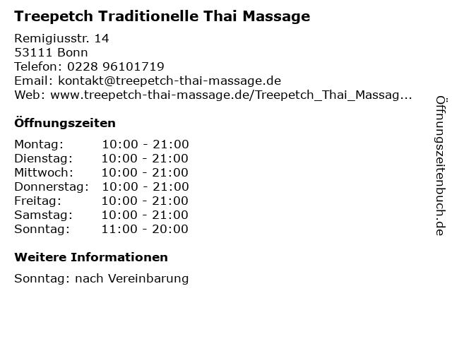 Treepetch Traditionelle Thai Massage in Bonn: Adresse und Öffnungszeiten