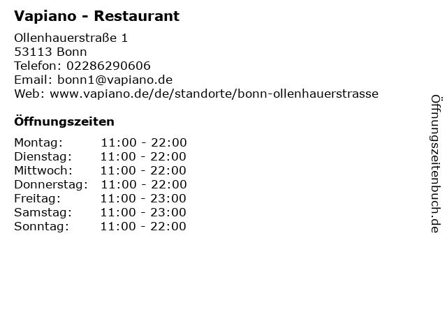 VAPIANO in Bonn: Adresse und Öffnungszeiten