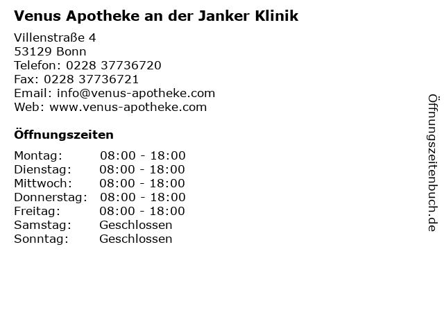 Venus Apotheke an der Janker Klinik in Bonn: Adresse und Öffnungszeiten