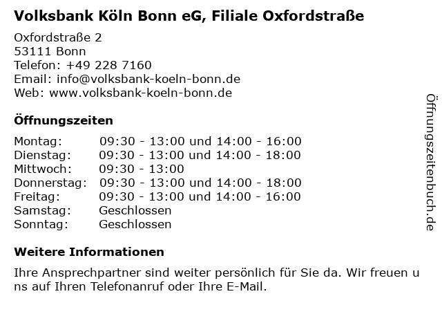 Volksbank Köln Bonn eG, SB-Filiale Oxfordstraße in Bonn: Adresse und Öffnungszeiten
