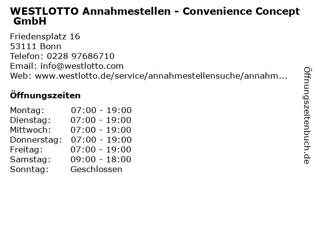 WESTLOTTO Annahmestellen - Convenience Concept GmbH in Bonn: Adresse und Öffnungszeiten