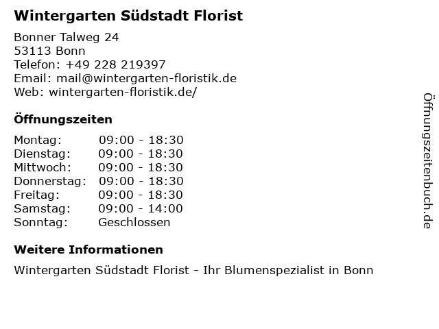 ᐅ Offnungszeiten Wintergarten Sudstadt Florist Bonner