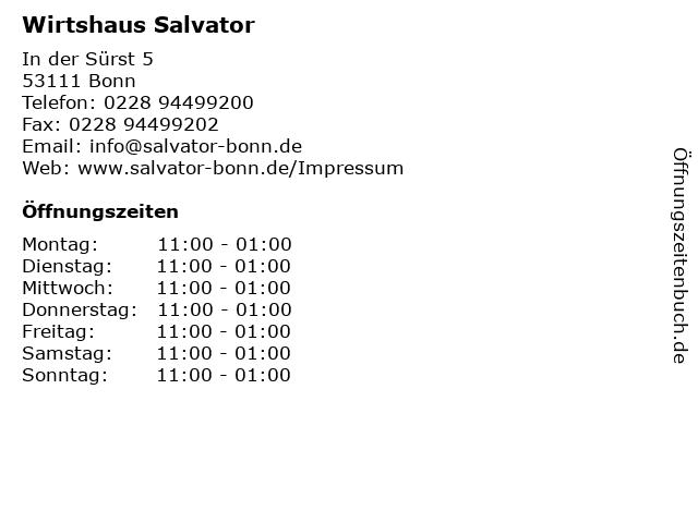 Wirtshaus Salvator in Bonn: Adresse und Öffnungszeiten