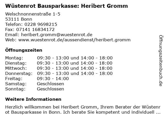 Wüstenrot Bausparkasse: Heribert Gromm in Bonn: Adresse und Öffnungszeiten