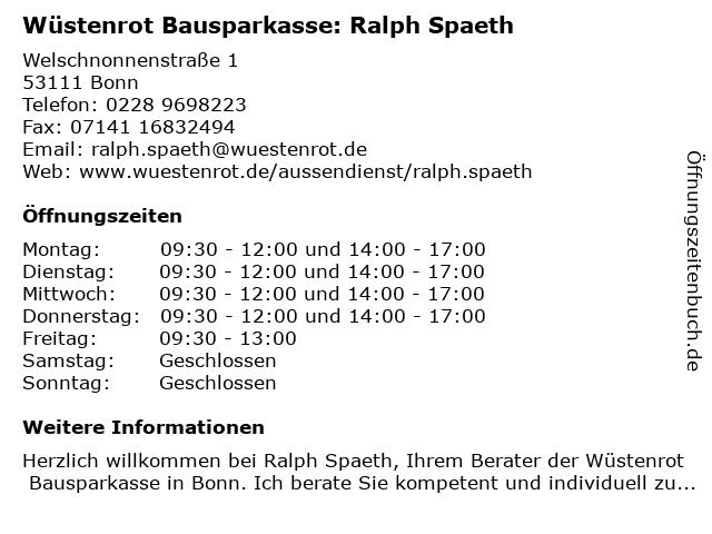 Wüstenrot Bausparkasse: Ralph Spaeth in Bonn: Adresse und Öffnungszeiten