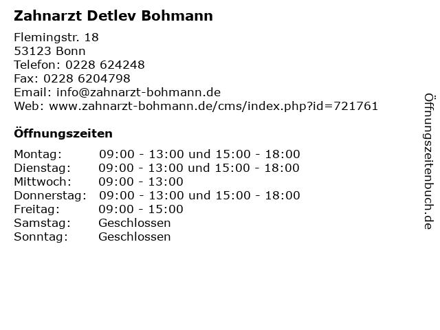 Zahnarzt Detlev Bohmann in Bonn: Adresse und Öffnungszeiten