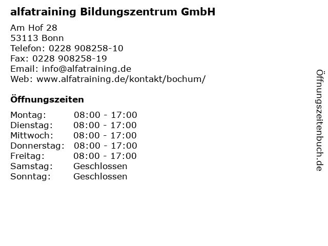 alfatraining Bildungszentrum GmbH in Bonn: Adresse und Öffnungszeiten