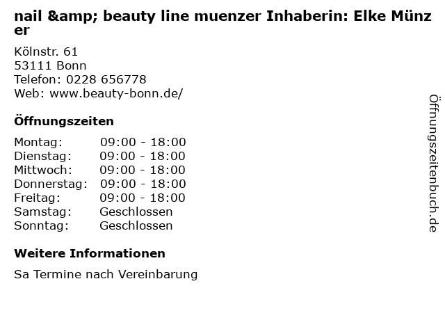 nail & beauty line muenzer Inhaberin: Elke Münzer in Bonn: Adresse und Öffnungszeiten