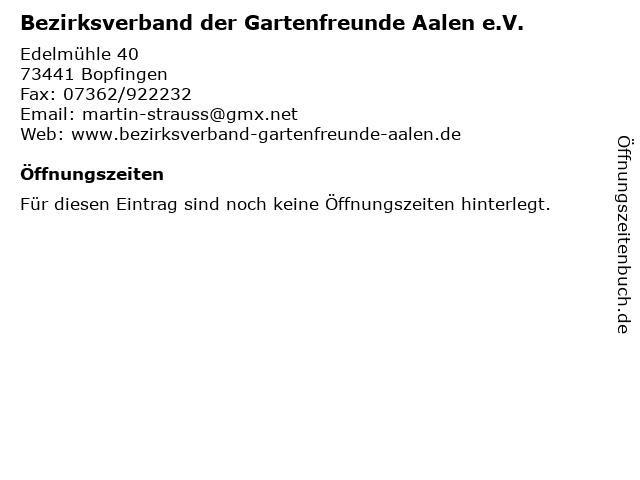 Bezirksverband der Gartenfreunde Aalen e.V. in Bopfingen: Adresse und Öffnungszeiten
