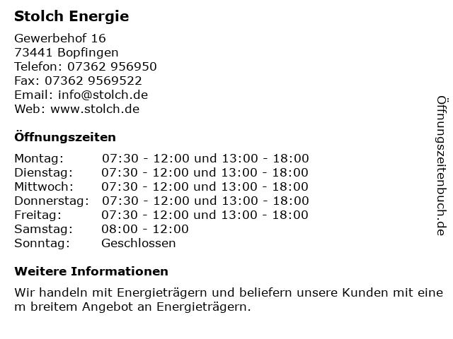 Stolch Energie GmbH in Bopfingen: Adresse und Öffnungszeiten
