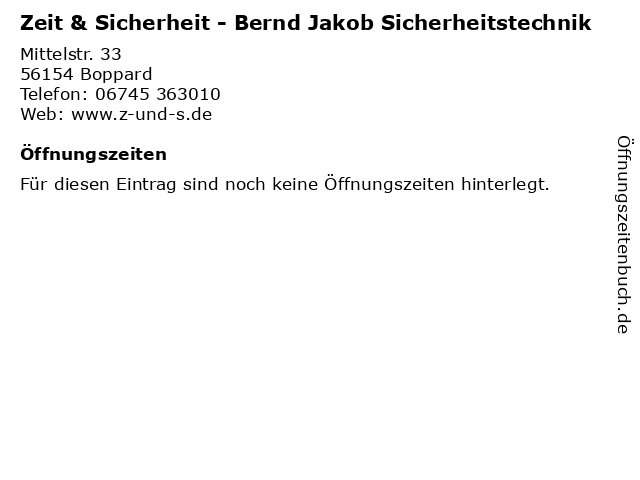 Zeit & Sicherheit - Bernd Jakob Sicherheitstechnik in Boppard: Adresse und Öffnungszeiten