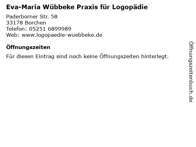 Eva-Maria Wübbeke Praxis für Logopädie in Borchen: Adresse und Öffnungszeiten