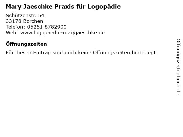 Mary Jaeschke Praxis für Logopädie in Borchen: Adresse und Öffnungszeiten