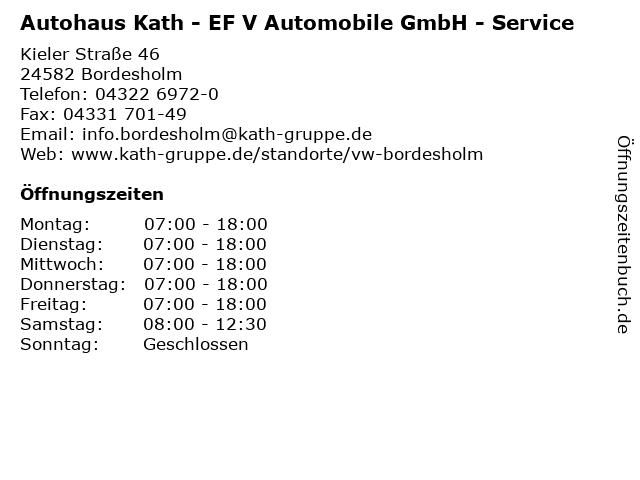 Autohaus Kath - EF V Automobile GmbH - Service in Bordesholm: Adresse und Öffnungszeiten