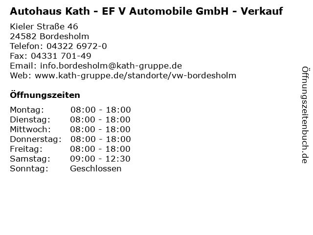 Autohaus Kath - EF V Automobile GmbH - Verkauf in Bordesholm: Adresse und Öffnungszeiten