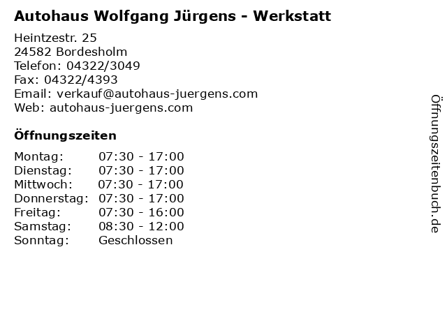 Autohaus Wolfgang Jürgens - Werkstatt in Bordesholm: Adresse und Öffnungszeiten