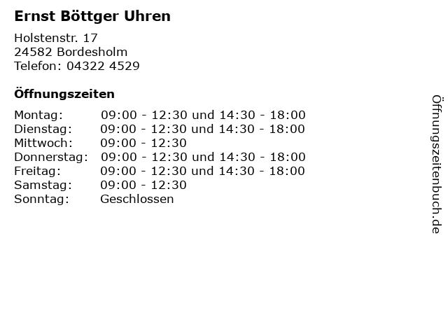 Ernst Böttger Uhren in Bordesholm: Adresse und Öffnungszeiten