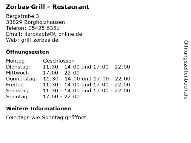 Zorbas Grill - Restaurant in Borgholzhausen: Adresse und Öffnungszeiten