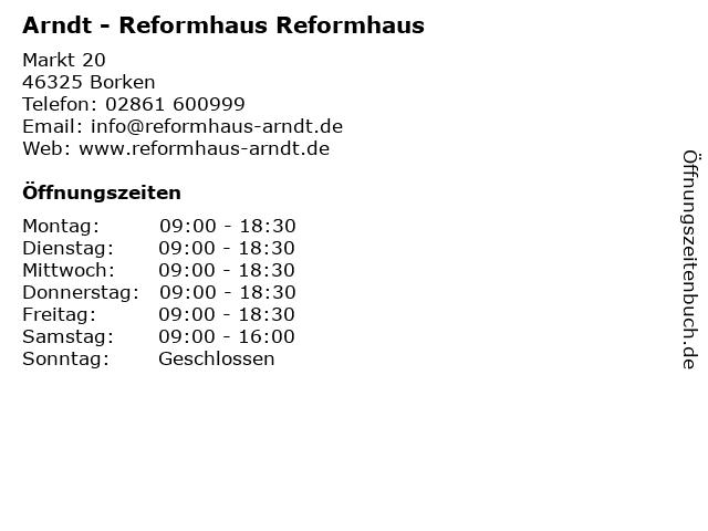 Arndt - Reformhaus Reformhaus in Borken: Adresse und Öffnungszeiten